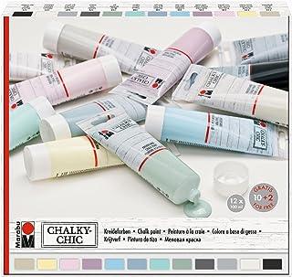 Marabu 0261000000088 - Chalky Chic Set mit 12x 100ml deckender, matter Kreidefarbe, Wasserbasis, Dosierverschluss - Rollen, Streichen und Tupfen auf Holz, Metall und Kunststoff, Used Look anschleifbar