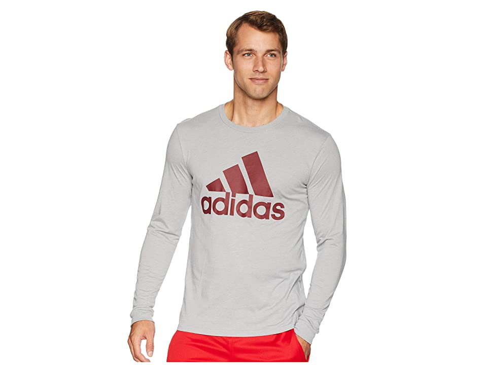 adidas Badge of Sport Classic Long Sleeve Tee (Medium Grey Heather/Noble Maroon) Men's T Shirt, Gray