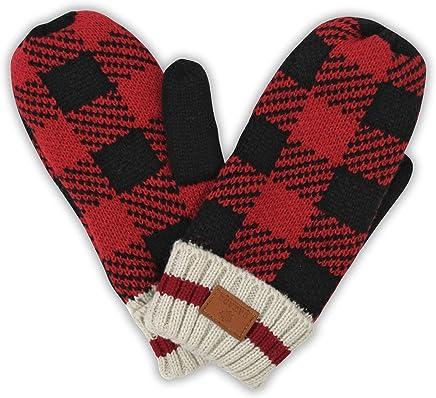 True North Canada Plaid Winter Gloves - Thick Warm Windproof Mittens Travel  (Kids) a7b916b7408