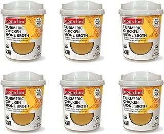 Nona Lim Bone Broth Heat & Sip Cups, Turmeric Chicken (10 oz, 6 Count) - Organic, Gluten Free, Non GMO, Paleo-Friendly, Keto-Friendly