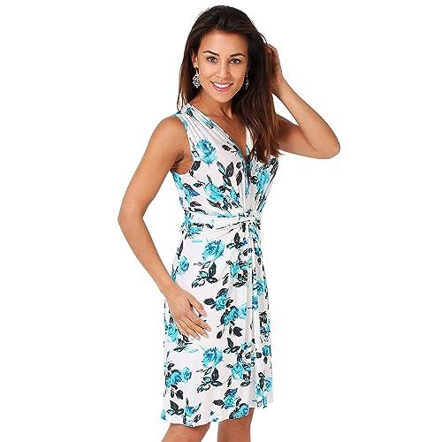 966a1a4135c KRISP® Women Knot Front Dress Ruched Flattering Stretch Spring Dresses Black