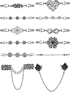 12 Pieces Vintage Sweater Shawl Clips Collar Chain Clips Retro Cardigan Collar Dresses Clips Brooch Pins for Women Girls