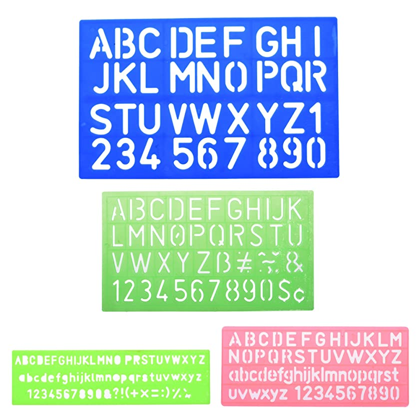 BCP 4pcs Assorted Colors Plastic Letter and Alphabet Stencil Sets Drawing Drafting Template