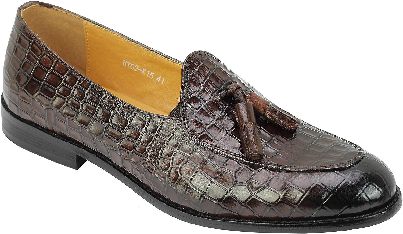 Xposed Mens Snakeskin Embossed Polished Real Leather Tassel Loafers Smart Slip on shoes Black, Brown