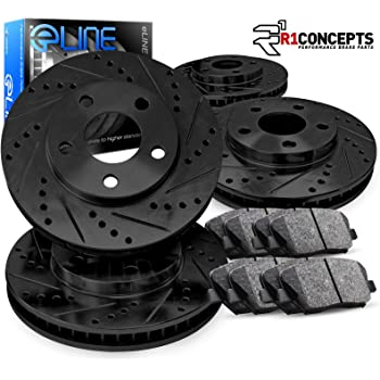 Front and Rear Drilled and Slotted Disc Brake Kit Rotors w//Ceramic Pads w//Hardware /& Brake Kit Cleaner /& Fluid for 1998-2002 Honda Accord 4 Cyl - 98-99 Acura CL 4 Cyl. Detroit Axle