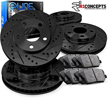 Front R1 Concepts KEOE11139 Eline Series Replacement Rotors And Ceramic Pads Kit