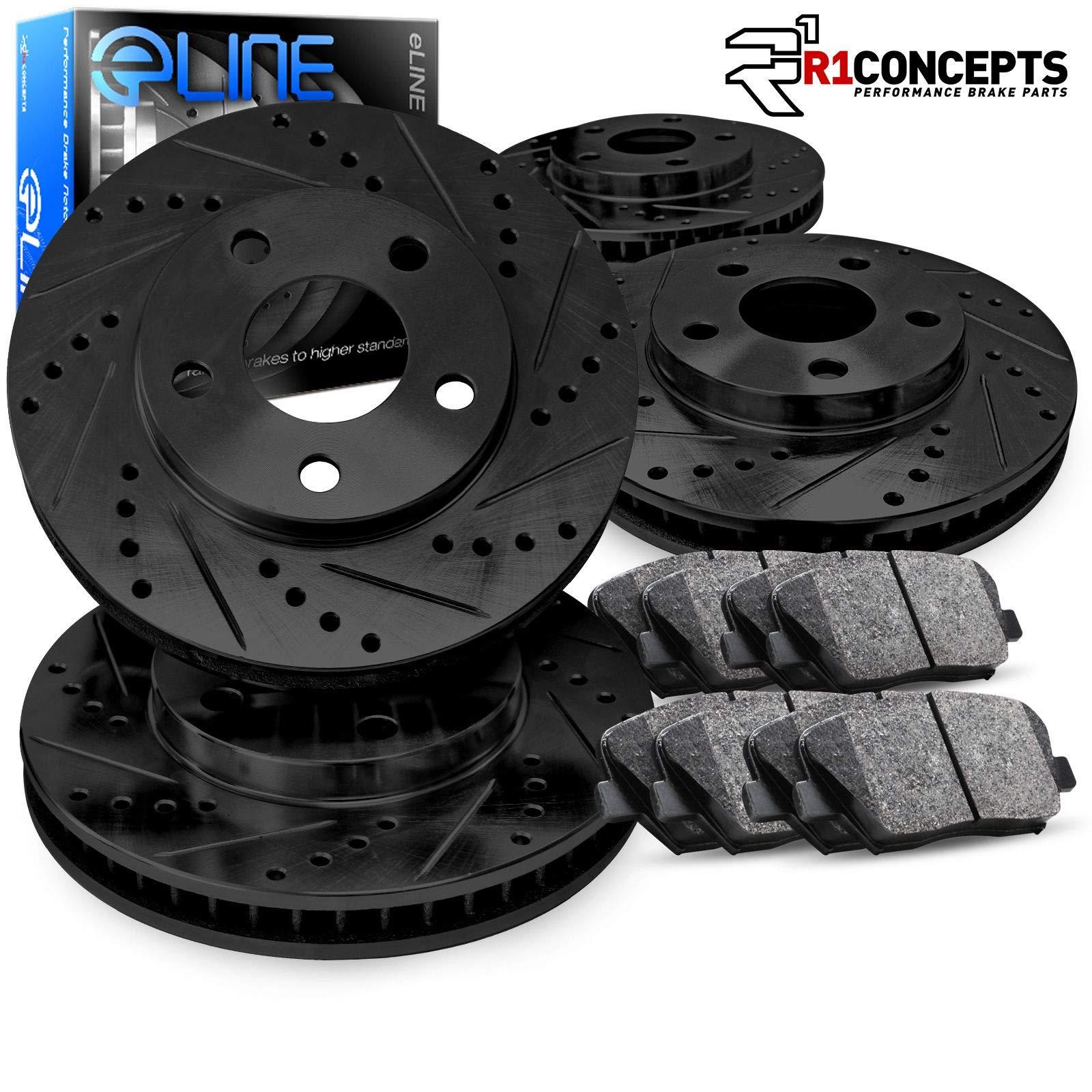For 2013-2017 Honda Accord R1 Concepts eLine Front Rear Black Drill//Slot Brake Rotors Kit