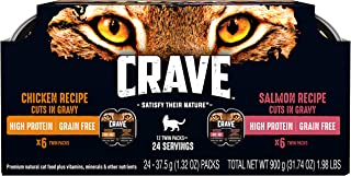 Crave Grain Free High Protein Wet Cat Food Trays Case Of 24 Twin Packs
