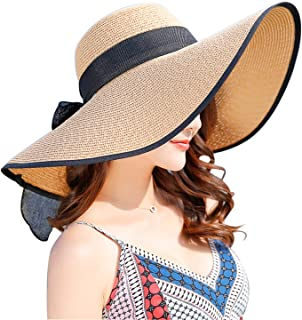 Women's Wide Brim Sun Protection Straw Hat,Folable Floppy...