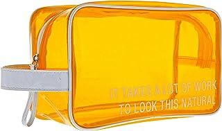 SAY WHAT AF122840 LARGE VINYL COSMETIC BAG: NATURAL Vanity Cases, Peach