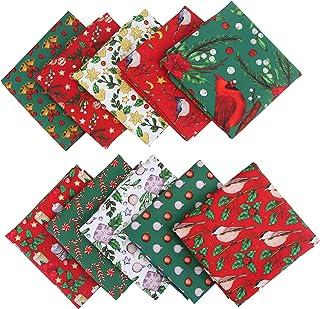 Bhuuno 10 peças de tecido de algodão de Natal pacotes de tecido de costura quadrados de tecido de costura, retalhos para d...