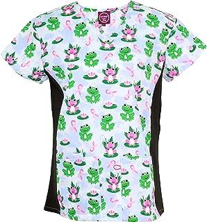 Women's Medical Nursing Stretch Top Patterned Multi Pocket Uniform Shirt