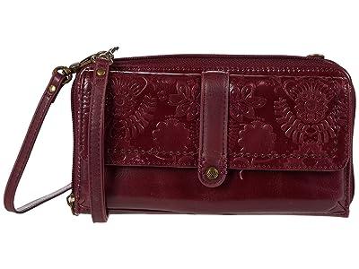 The Sak Sequoia Smartphone Flap Crossbody (Cabernet Floral Embossed) Handbags