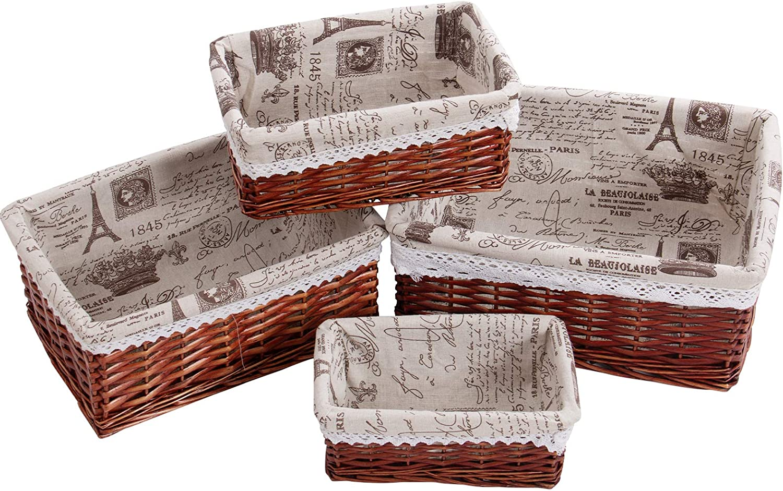 PentaQ Set of 4 Handmade Wicker 15. 2021 autumn and winter new Size Maximum High order Basket Storage