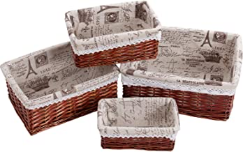 pentaQ Handmade Wicker Storage Basket Set, Woven Shelf Baskets Decorative Home Storage Bins Multipurpose Organizing Basket...