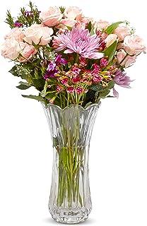Crystal Flower Vase, Tall Glass Bouquet Holder, Glass Vases For Decor, Clear Flower Vase for Floral Arrangements, Centerpi...