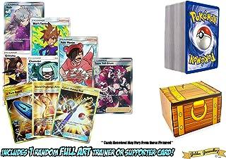 100 Pokemon Cards - Bonus 1 Random Full Art Trainer Card Supporter Or Item Card Guaranteed! Foils - Rares - Includes a Golden Groundhog Treasure Chest Box!