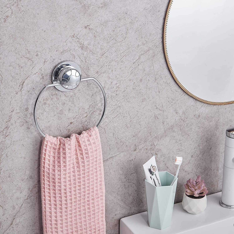 JS Towel Holder Self Adhesive Towel Rail Stainless Steel 7.08inch//15.75cm Towel Ring Shower Bathtub Robe /& Bath Towel,2 Pack No Drilling