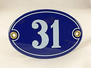 Emaille huisnummer bord nr. 31, ovaal, blauw-wit Nr. 31 Blau-Weiß + Schrauben und Dübel