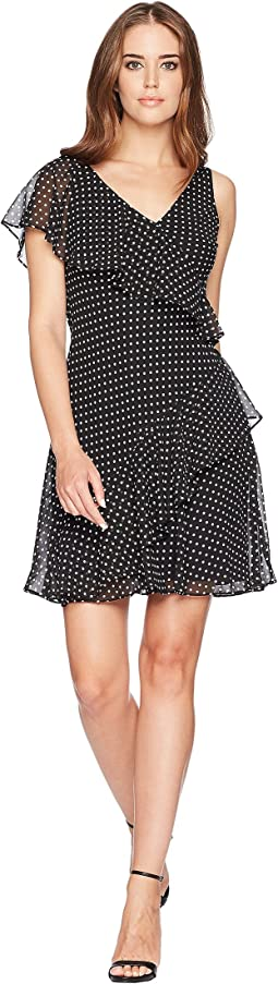 Dot-Print Georgette Dress