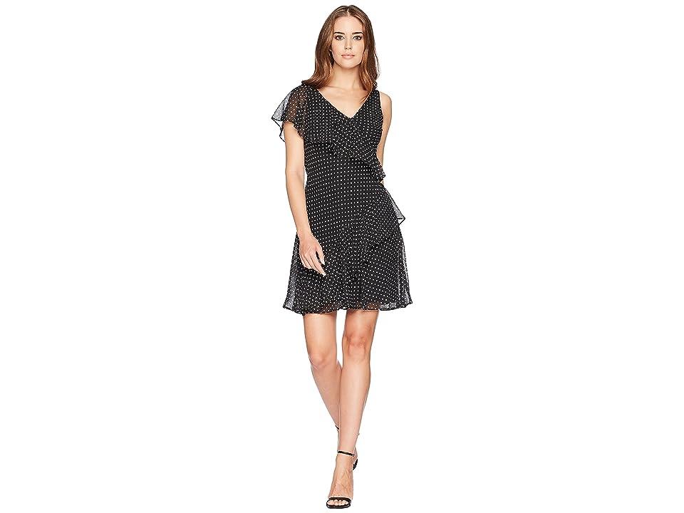 CHAPS Dot-Print Georgette Dress (Black/Colonial Cream) Women