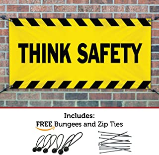 HALF PRICE BANNERS | Think Safety Vinyl Banner-Indoor/Outdoor 3X5 Foot-Yellow | Includes Bungees & Zip Ties | Easy Hang-Made in USA