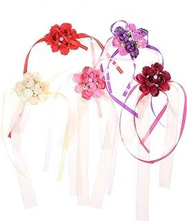 Beautyflier 5pcs Wedding Bride Girl Bridesmaid Floral Hand Wrist Corsage Adjustable Ribbon Rose Bracelets Ceremony Party Prom Flower Decor