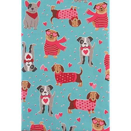 Valentine/'s Day Vinyl Tablecloth Pink w//Dogs /& Cats UPick Size Flannel Back NEW