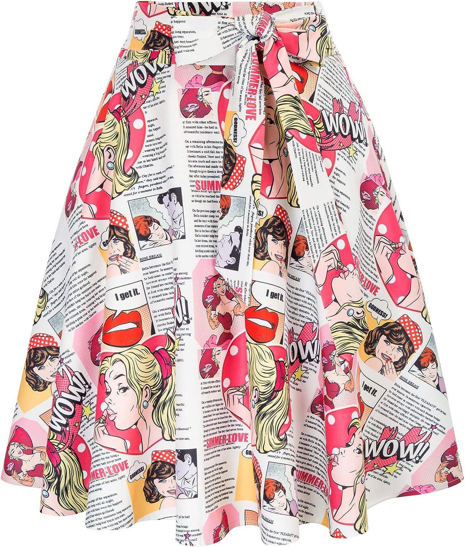 1950s Swing Skirt, Poodle Skirt, Pencil Skirts Belle Poque Womens High Waist A-Line Pockets Skirt Skater Flared Midi Skirt  AT vintagedancer.com
