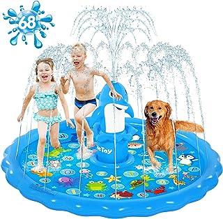 "iBaseToy Dolphin Splash Pad Sprinkler for Kids - 68"" Large Inflatable Splash Play Mat, Kiddie Baby Swimming Pool, Kids Spr..."