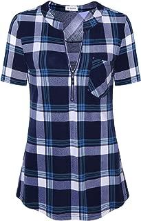 Bulotus Women's 3/4 Sleeve V-Neck Casual Plaid Tunic Shirt