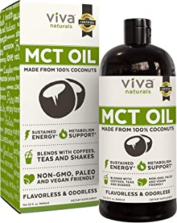 Viva Naturals Non-GMO Pure Coconut MCT Oil (32 fl oz) - Gluten Free, Vegan and Paleo Diet Approved, Naturally Extracted an...