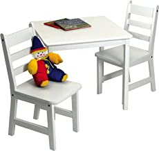 Lipper International Child's Square Table and 2 Chairs, White