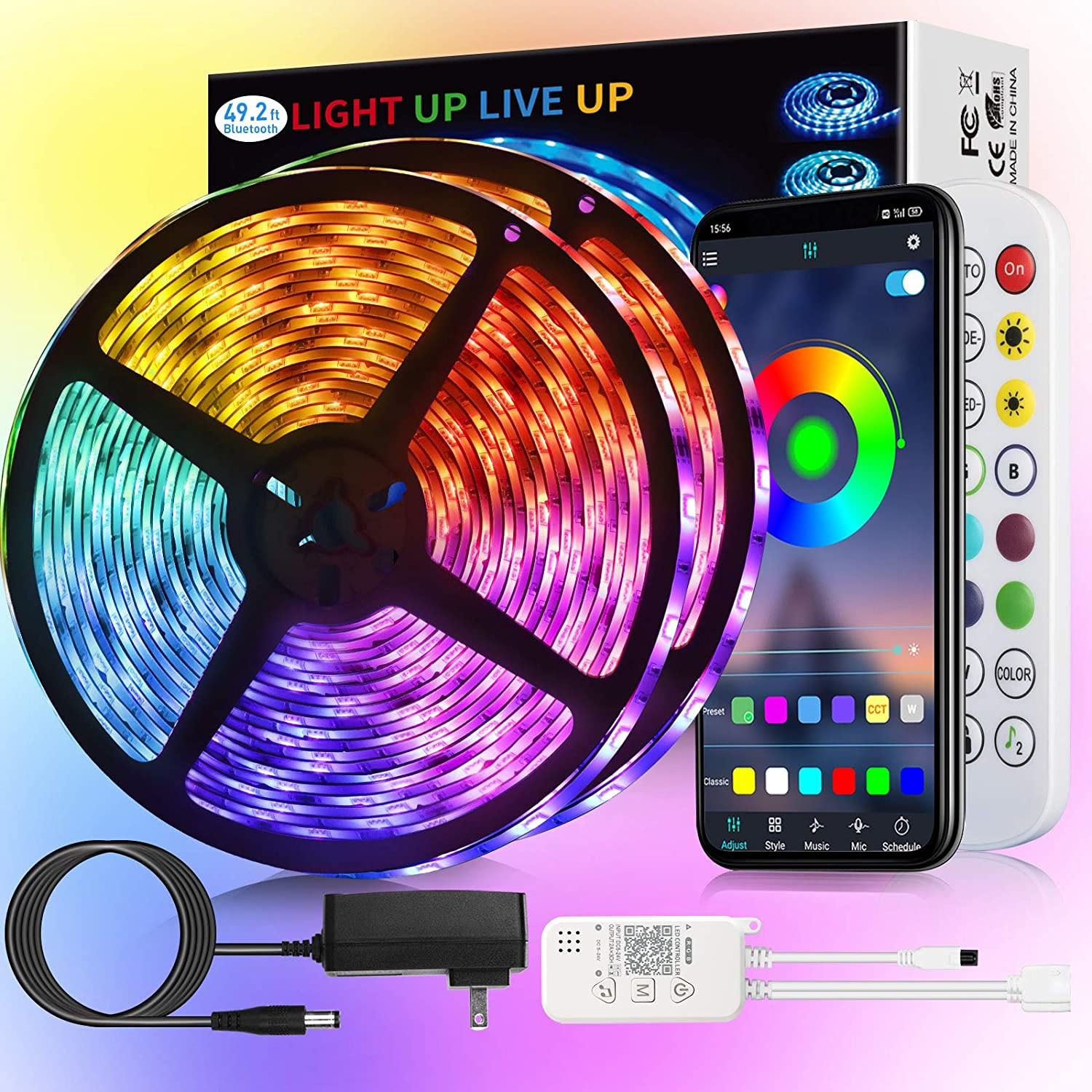 LED Strip Lights Waterproof IP65 Indianapolis Mall 49.2ft Cheap super special price AMSIKE RGB 5050 Lig