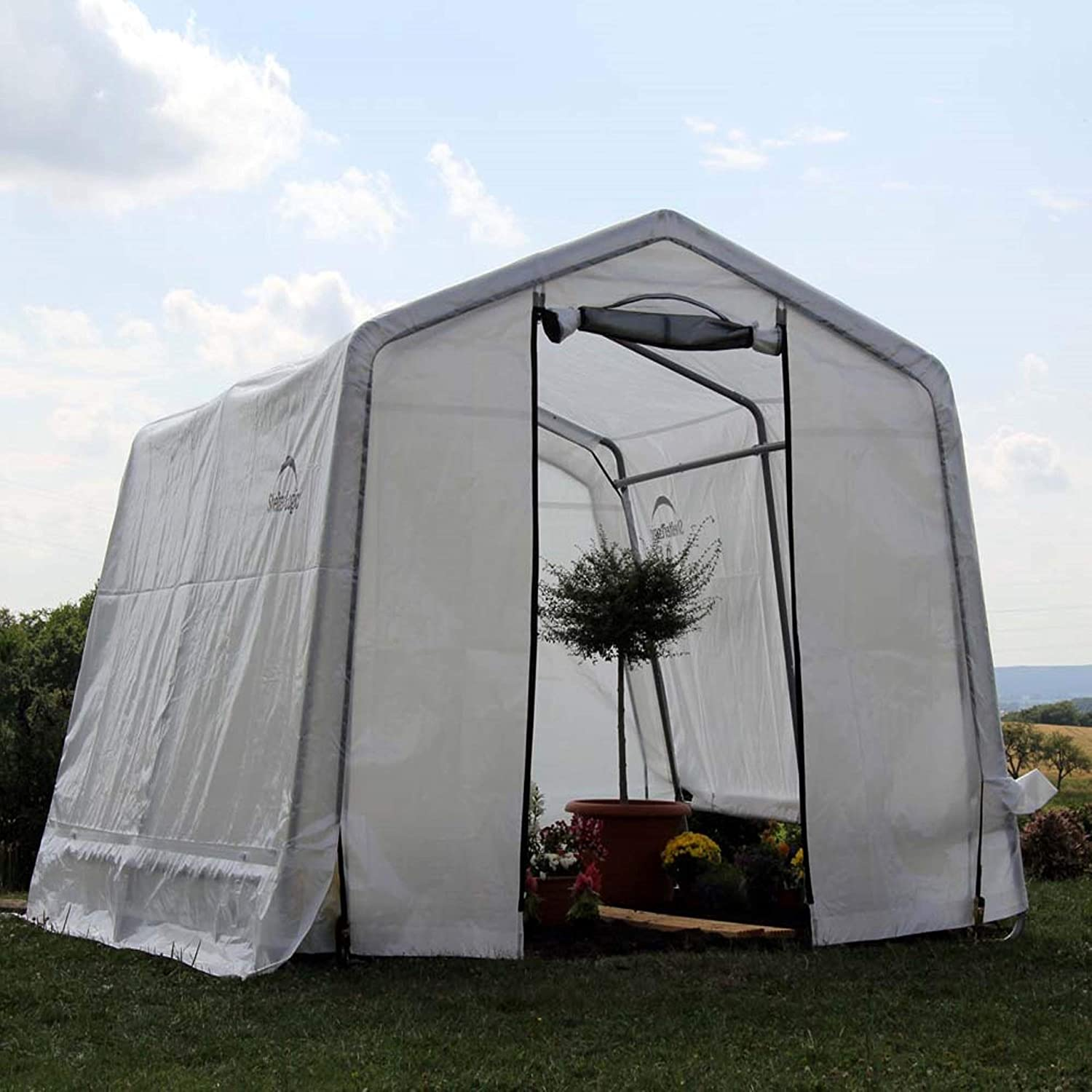 Buy Shelterlogic 10 X 10 Growit Greenhouse In A Box Flow Peak Roof Style Easy Access Outdoor Grow House With Translucent Waterproof Cover White Online In Vietnam B00ak7txni Growit backyard greenhouse reviews