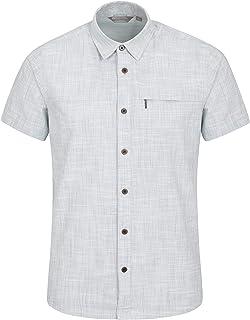 Mountain Warehouse - Maglietta a maniche corte da uomo, 100% cotone, vestibilità normale, fodera in rete, tasca sul petto ...