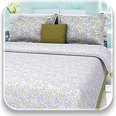 Aayesha Cotton 144 TC 100% Cotton Double Bed bedsheet with 2 Pillow Covers - White