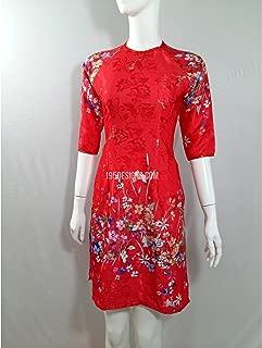 195designs Áo Dài Cách Tân Gấm Đỏ HOA Cỏ Mùa Xuân   Red Ao Dai Flower Modern New Year