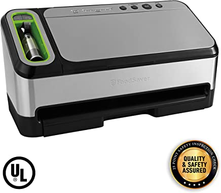 Foodsaver FSFSSL4840-000 V4840 2-in-1 Vacuum Sealer Machine with Automatic Bag Detection and Starter Kit | UL Safety Certified | Silver