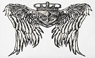 Lunarable Fleur De Lis Doormat, Tribal Tattoo Design with Wings Historic Crest Crown and Eagle, Decorative Polyester Floor Mat with Non-Skid Backing, 30