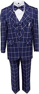 Jeet Creation Boys Navy Blue Coat Suit with Waistcoat, Shirt, Bow and Trouser Set (9048BRW)