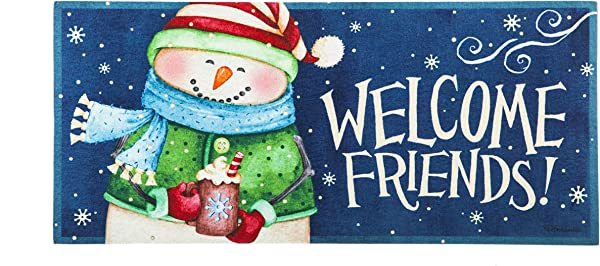 Evergreen Flag Snow Country Decorative Mat Insert 10 X 22 Inches