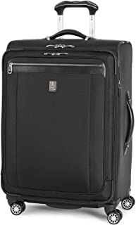 Travelpro Platinum Magna 2-Softside Expandable Spinner Wheel Luggage, Black, Checked-Medium 25-Inch