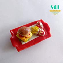 Soniya's Art Lounge Burger and Fries Unique Handmade Miniature Food Fridge Magnet for Kitchen Decor