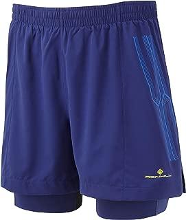 Ron Hill Men's Infinity Marathon Twin Shorts, Midnight Blue/Azurite, Large