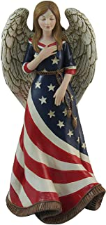 DWK - American Faith - Americana Angel Figurine USA Patriotic Religious Statue Memorial Day Fourth of July Sculpture, 9.5-inch