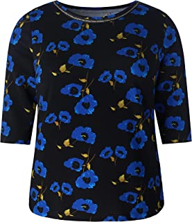 Chicwe Women's Plus Size Stretch Floral Crepe Knit Tunic - Casual Top with Neck Trim