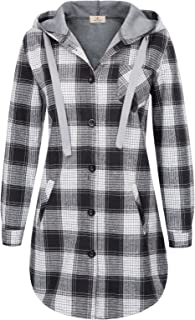 GRACE KARIN Women Long Sleeve Hooded Jacket Flannel Plaid Button Down Shirt Top with Pockets