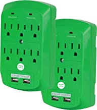 Surge Protector, Electronics Charging Station, 6 Outlet 2 USB Port Wall Adapter with Safety Indicator Lights -Green, Pack of 2- by Office + Style
