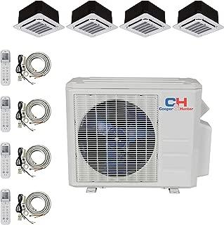 COOPER AND HUNTER Quad 4 Zone Ductless Mini Split Ceiling Cassette Air Conditioner Heat Pump 12k 12k 12k 12k